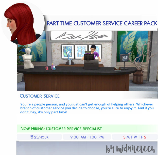CUSTOMER SERVICE CAREER PACK (PART TIME) at MIDNITETECH'S SIMBLR image 1156 Sims 4 Updates