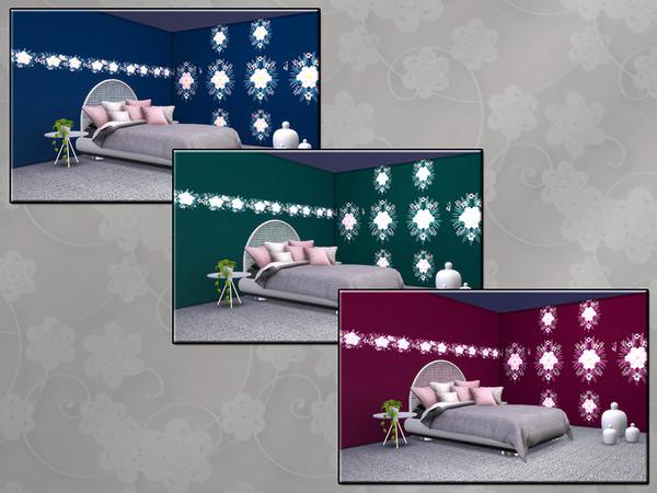 Sims 4 MB Opulent Wallwear Flower SET by matomibotaki at TSR