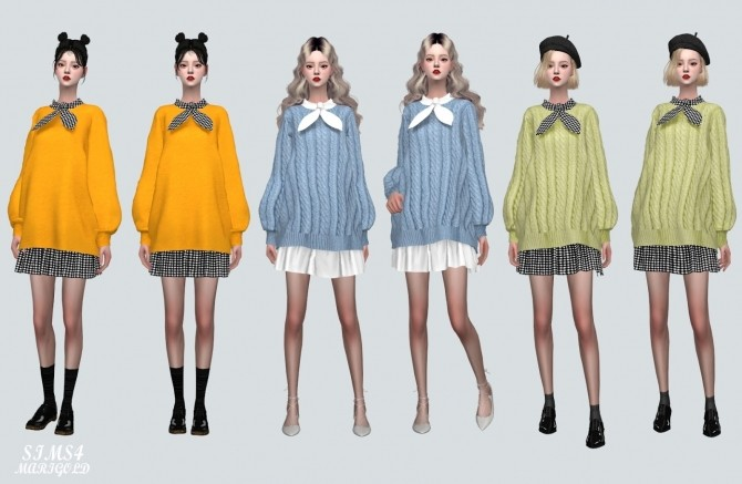 Sims 4 Bow Long Sweater Dress (P) at Marigold