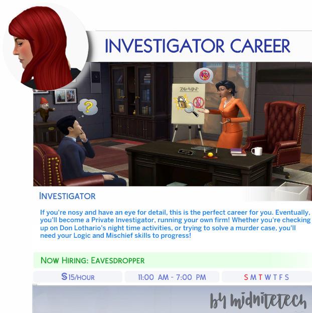 Sims 4 INVESTIGATOR CAREER at MIDNITETECH'S SIMBLR