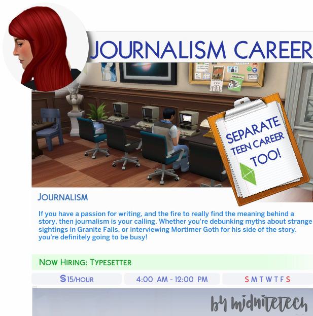 Sims 4 JOURNALISM CAREER at MIDNITETECH'S SIMBLR
