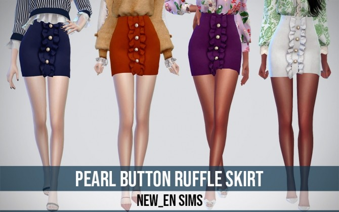 Sims 4 Pearl Button Ruffle Skirt at NEWEN