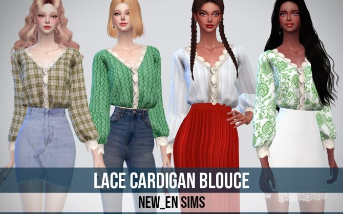 Sims 4 Lace Cardigan Blouse at NEWEN