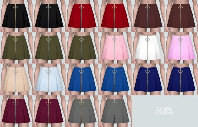 Sims 4 Heart Mini Pleats Skirt at Marigold