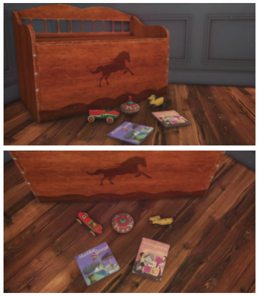 Sims 4 Vintage Deco Toy Chest, Toys and Books at Josie Simblr