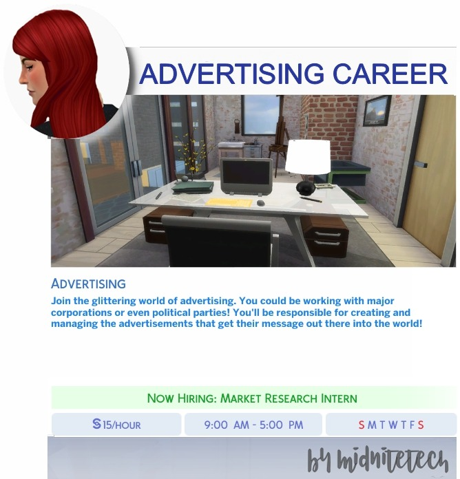 Sims 4 ADVERTISING CAREER at MIDNITETECH'S SIMBLR