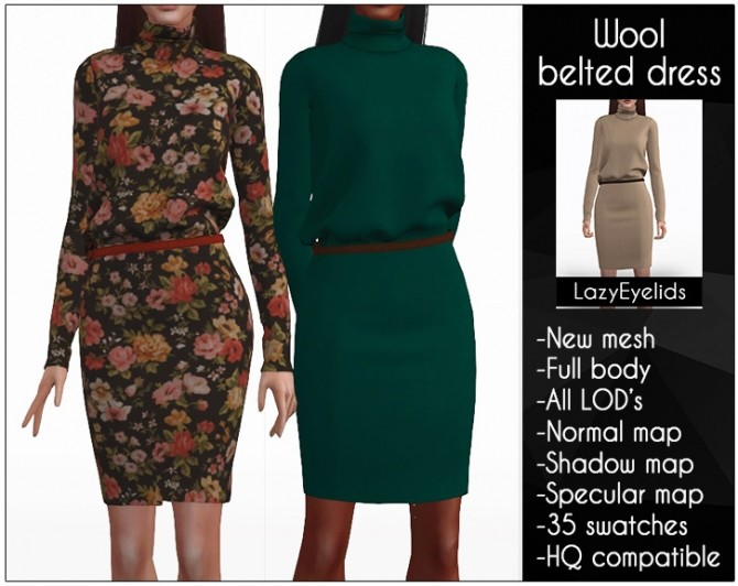 Sims 4 Wool dress with recolorable belt at LazyEyelids