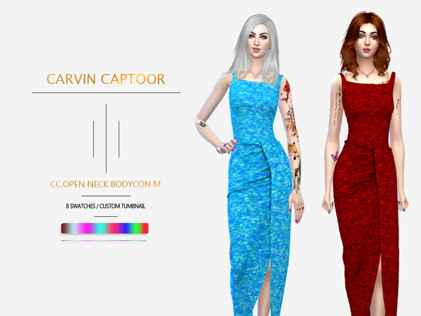 Sims 4 Open Neck Bodycon M by carvin captoor at TSR