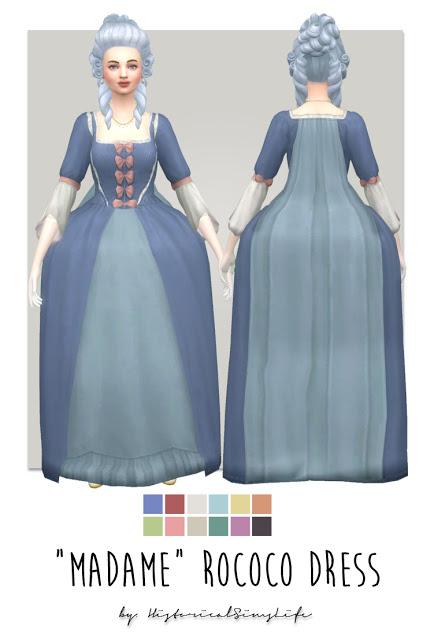 Sims 4 Madame Rococo Dress at Historical Sims Life