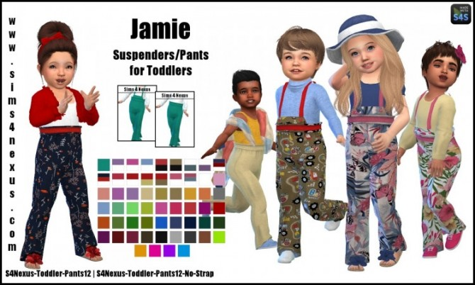 Sims 4 Jamie suspender pants by SamanthaGump at Sims 4 Nexus