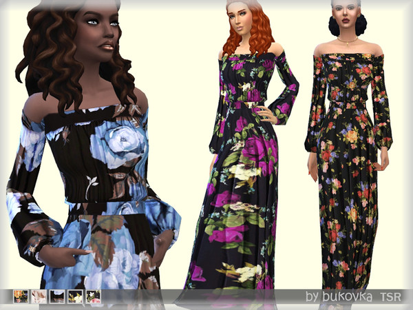 Sims 4 Dress Flowers by bukovka at TSR