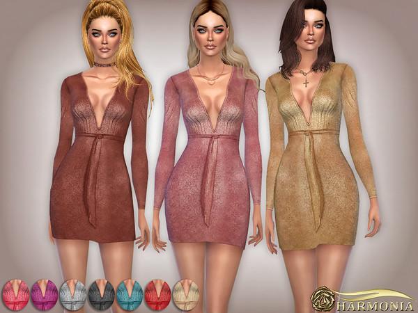 Sims 4 Metallic Glitter Plunge Belted Midi Dress by Harmonia at TSR