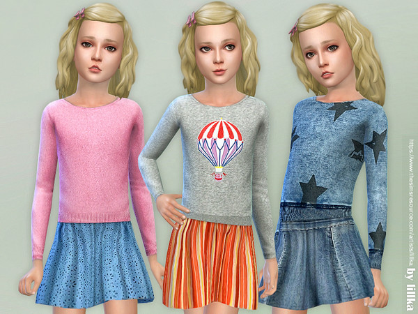 Sims 4 Cozy Sweater and Skirt by lillka at TSR