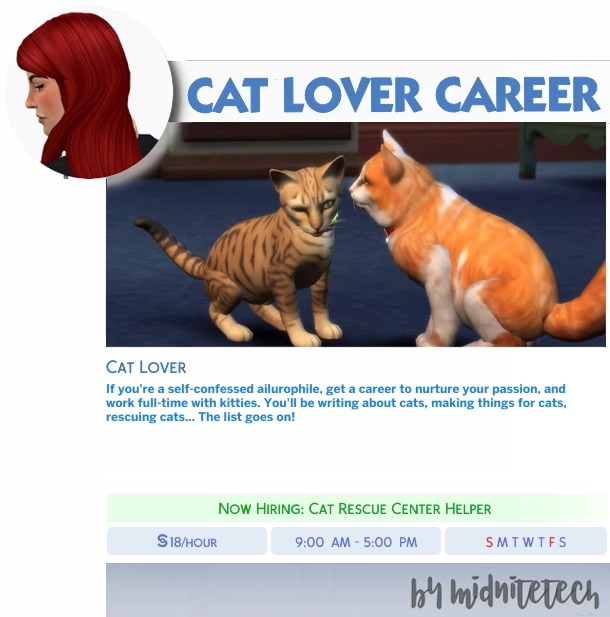 CAT LOVER CAREER at MIDNITETECH'S SIMBLR image 1833 Sims 4 Updates