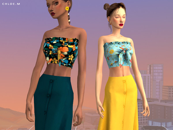 Croptop With Bowknot 2 by ChloeMMM at TSR image 1838 Sims 4 Updates