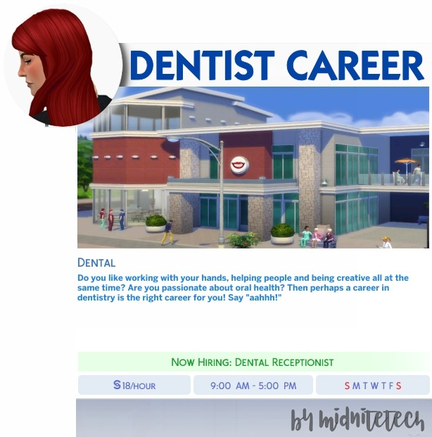 DENTIST CAREER at MIDNITETECH'S SIMBLR image 1852 Sims 4 Updates