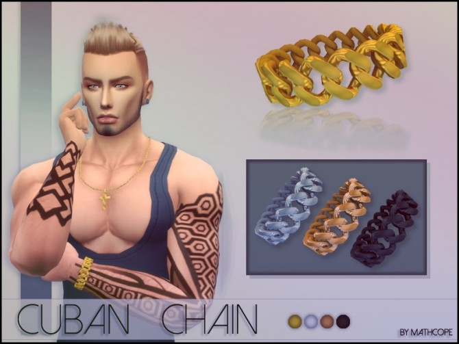 Sims 4 Cuban chain bracelet by Mathcope at Sims 4 Studio
