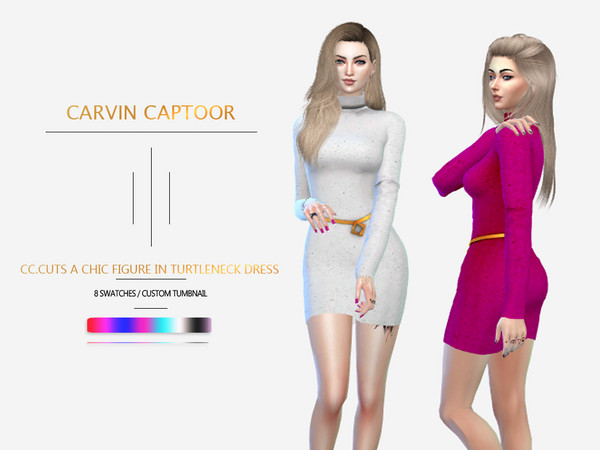 Sims 4 Cuts a chic figure in turtleneck dress by carvin captoor at TSR