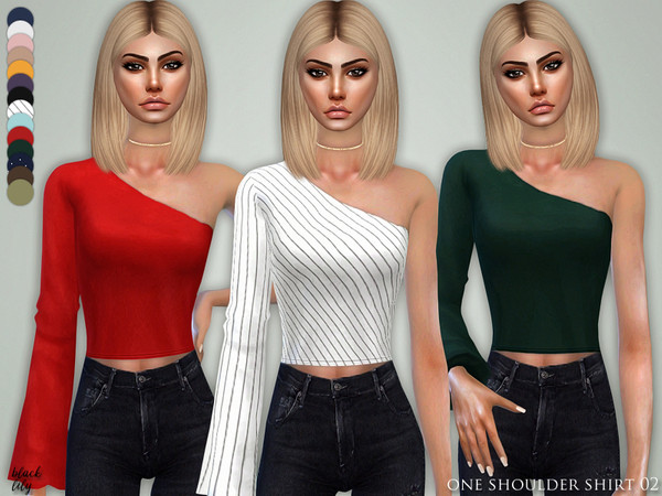 Sims 4 One Shoulder Shirt 02 by Black Lily at TSR