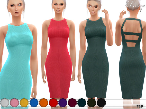 Sims 4 Knit Dress With Cut Out Back by ekinege at TSR