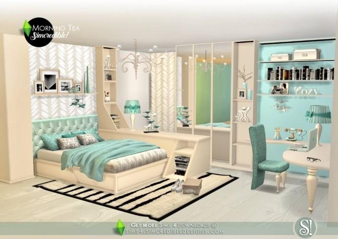 Sims 4 Morning Tea bedroom set at SIMcredible! Designs 4