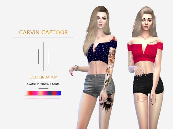 Sims 4 Xolinda top by carvin captoor at TSR