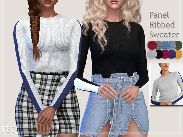 Sims 4 Panel Ribbed Sweater by Pinkzombiecupcakes at TSR
