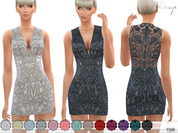 Sims 4 Embellished Fitted Dress by ekinege at TSR