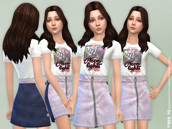 T Shirt with Metallized Skirt by lillka at TSR image 2325 Sims 4 Updates