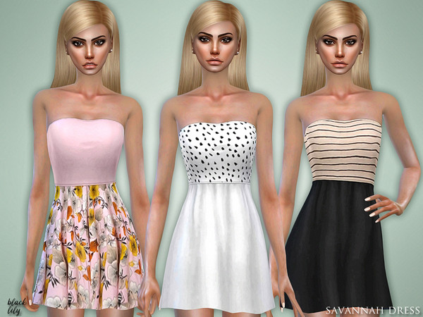 Sims 4 Savannah Dress by Black Lily at TSR