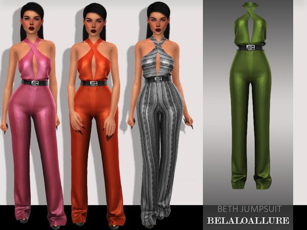 Sims 4 Belaloallure Beth jumpsuit by belal1997 at TSR