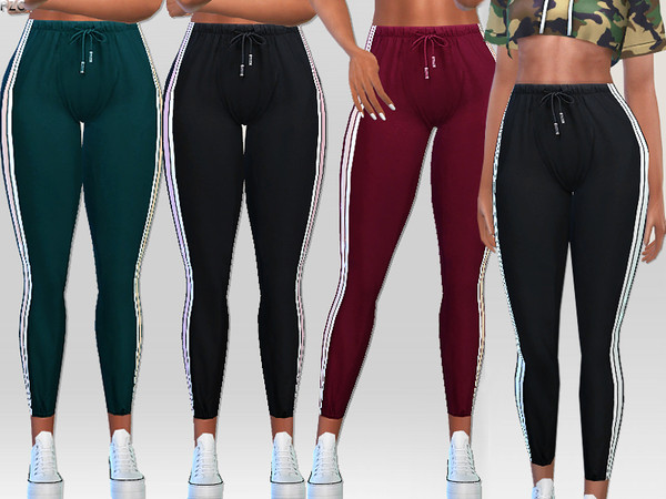 Sims 4 Side Stripes Athletic Pants by Pinkzombiecupcakes at TSR