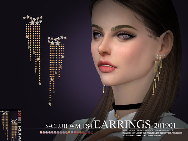 Sims 4 EARRINGS 201901 by S Club WM at TSR