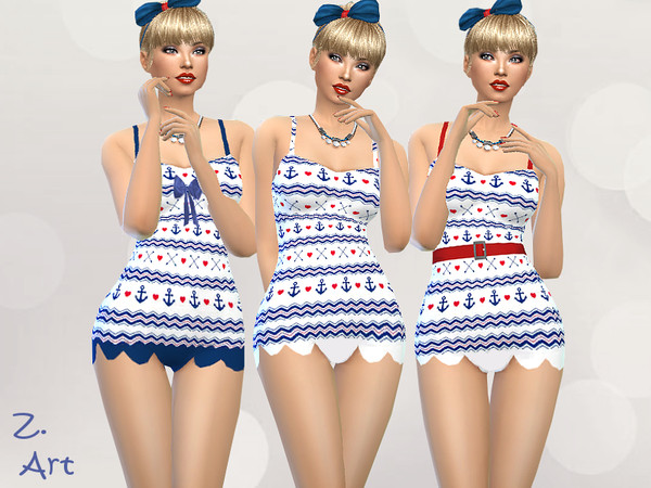 Sims 4 RetroZ 07 swimsuit by Zuckerschnute20 at TSR