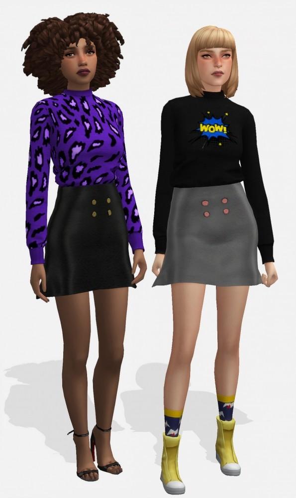Jumper and leather skirt at Nyuska image 290 595x1000 Sims 4 Updates