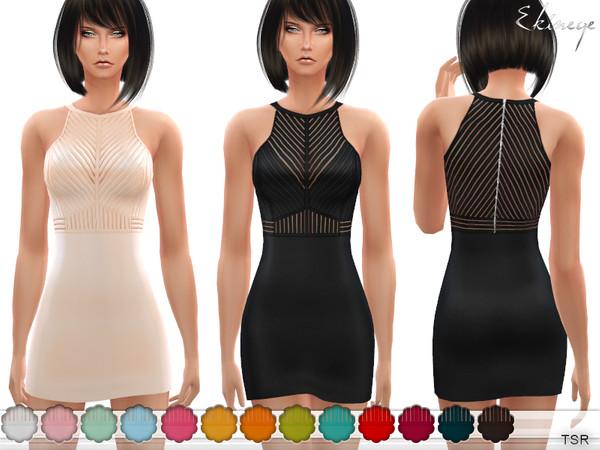 Sims 4 Shadow Striped Mini Dress by ekinege at TSR