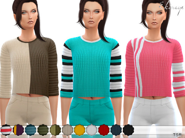 Knit Cropped Sweater by ekinege at TSR image 309 Sims 4 Updates