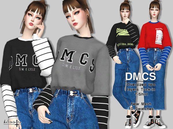 Dmcs 2 Layers Oversized Tee By Helsoseira At Tsr 187 Sims 4