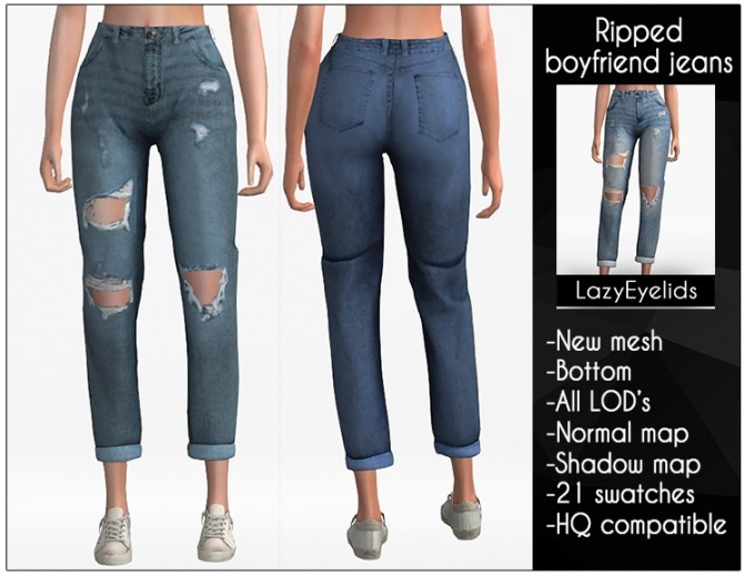 Sims 4 Ripped boyfriend jeans at LazyEyelids