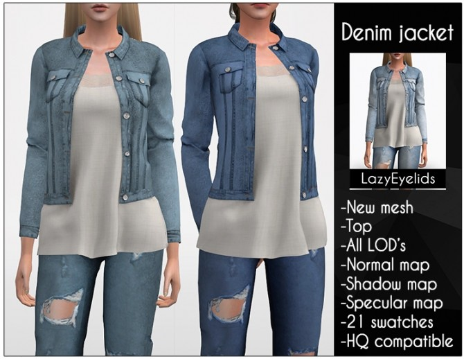 Denim jacket at LazyEyelids image 3301 670x518 Sims 4 Updates