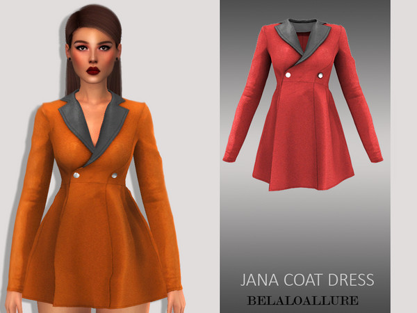 Sims 4 Belaloallure jana coat dress by belal1997 at TSR