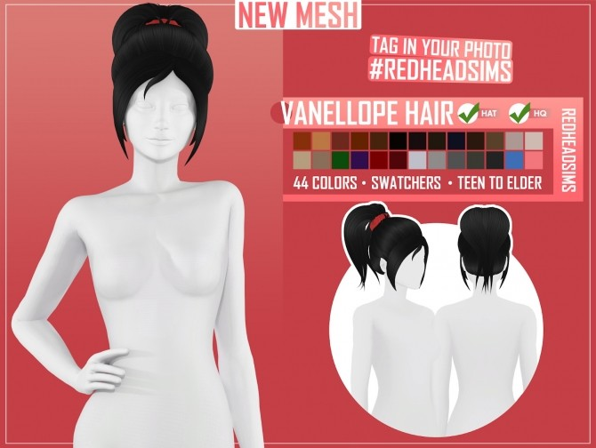 VANELLOPE HAIR by Thiago Mitchell at REDHEADSIMS image 3341 670x504 Sims 4 Updates