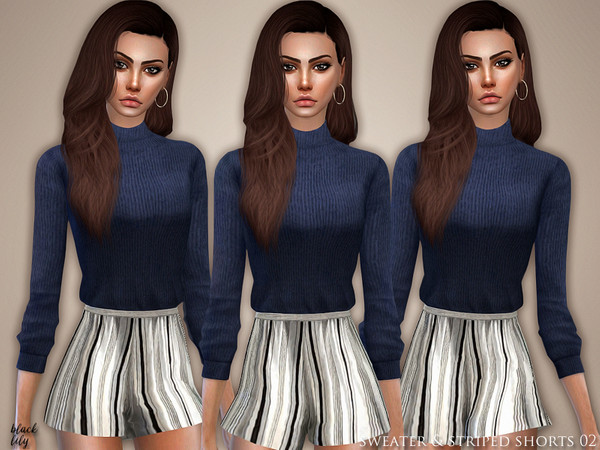 Sims 4 Sweater & Striped Shorts 02 by Black Lily at TSR