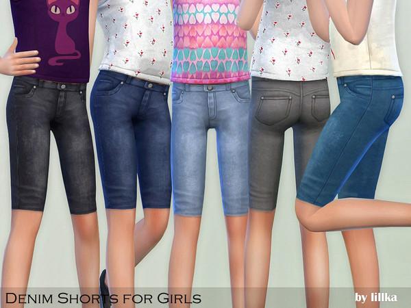 Sims 4 Denim Shorts for Girls by lillka at TSR