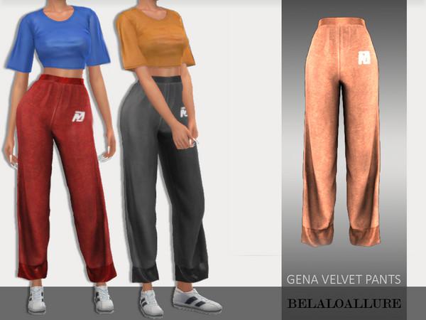 Sims 4 Gena velvet pants by belal1997 at TSR