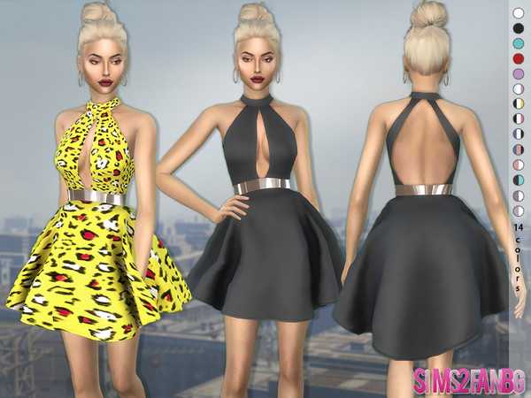 Sims 4 375 Fluffy Mini Dress by sims2fanbg at TSR