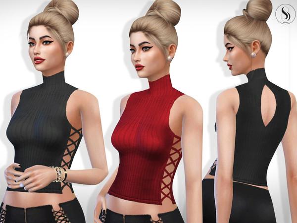 Sims 4 Diana High Neck Side Detail Tops by Saliwa at TSR