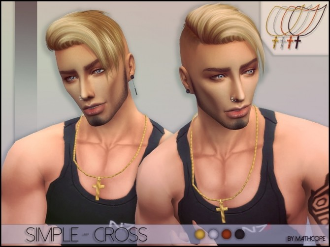 Sims 4 Simple cross necklace by Mathcope at Sims 4 Studio