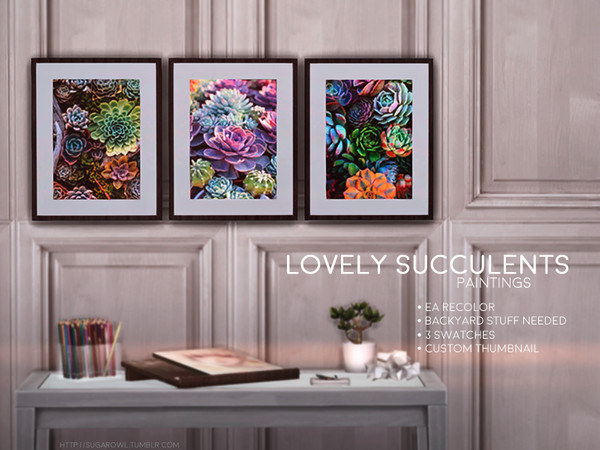 Sims 4 Lovely Succulents paintings by sugar owl at TSR
