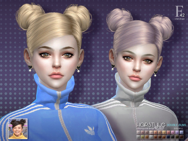 Double buns n42 hair by s club at TSR image 4817 Sims 4 Updates